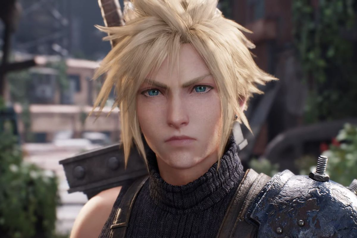 Cloud looks concerned after Rude notices the color of his eyes in the Final Fantasy 7 Remake