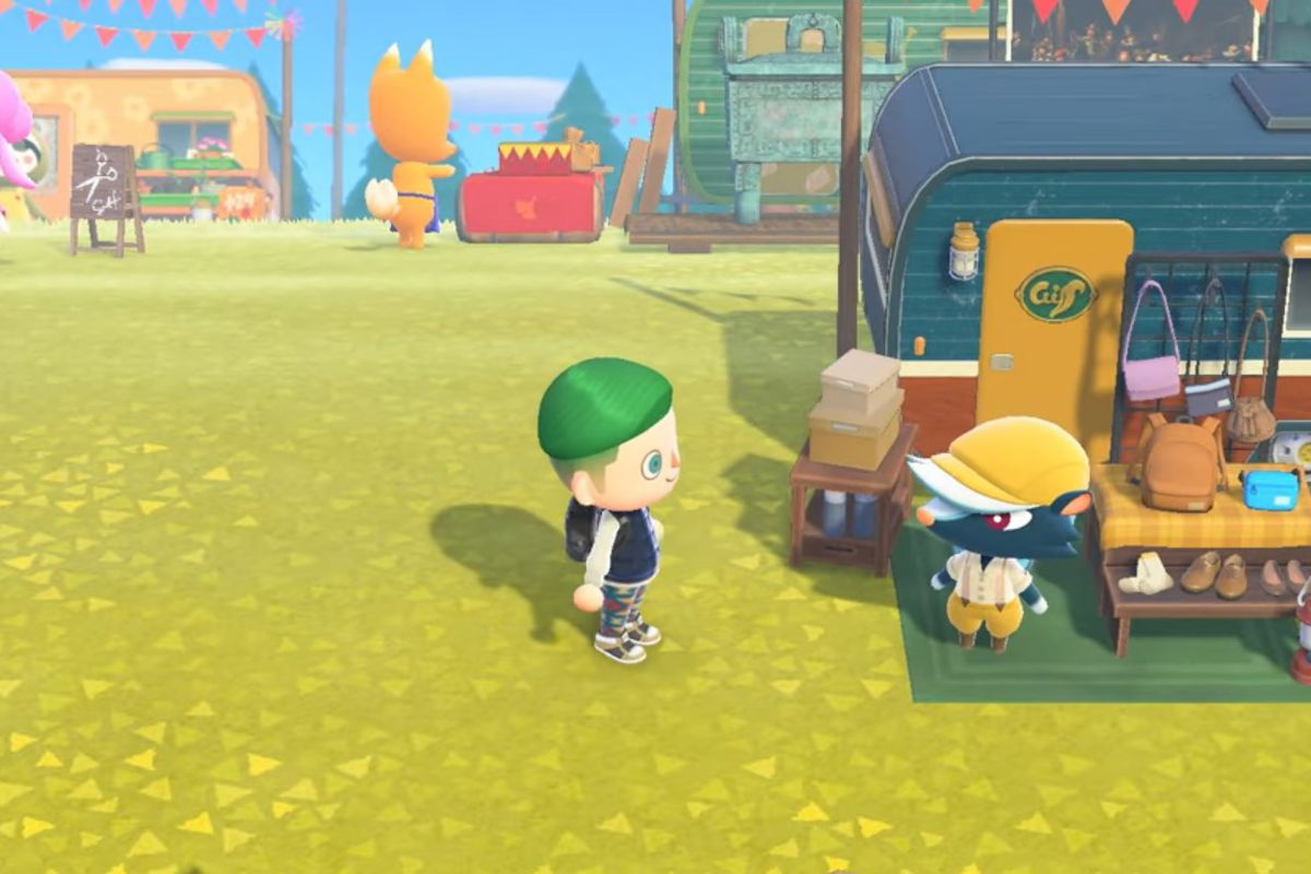 A green-haired villager stands in front of Kicks the skunk with Redd the fox in the background.