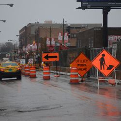11:55 a.m. View looking north on Clark Street, where there is only one lane for northbound traffic -