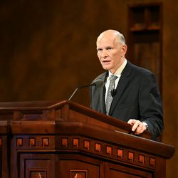Elder Dale G. Renlund, of the Quorum of the Twelve Apostles, speaks during the Saturday afternoon session of The Church of Jesus Christ of Latter-day Saints' 191st Annual General Conference in Salt Lake City April 3, 2021.