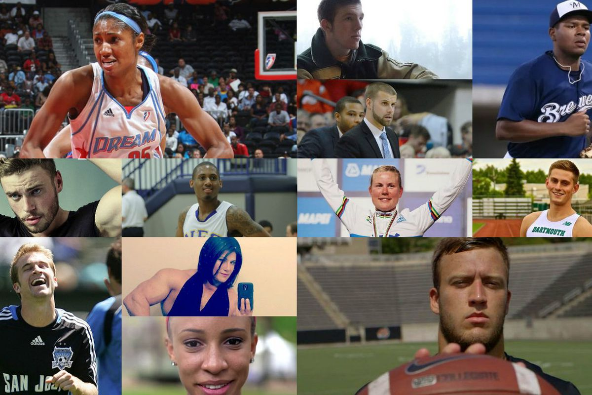 Some of the LGBT athletes who came out in 2016. None were in the NBA, NHL, NFL or MLB.