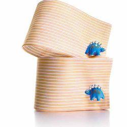 Deakin & Francis Dinosaur Cuff Links, Blue/Orange Dot, $495