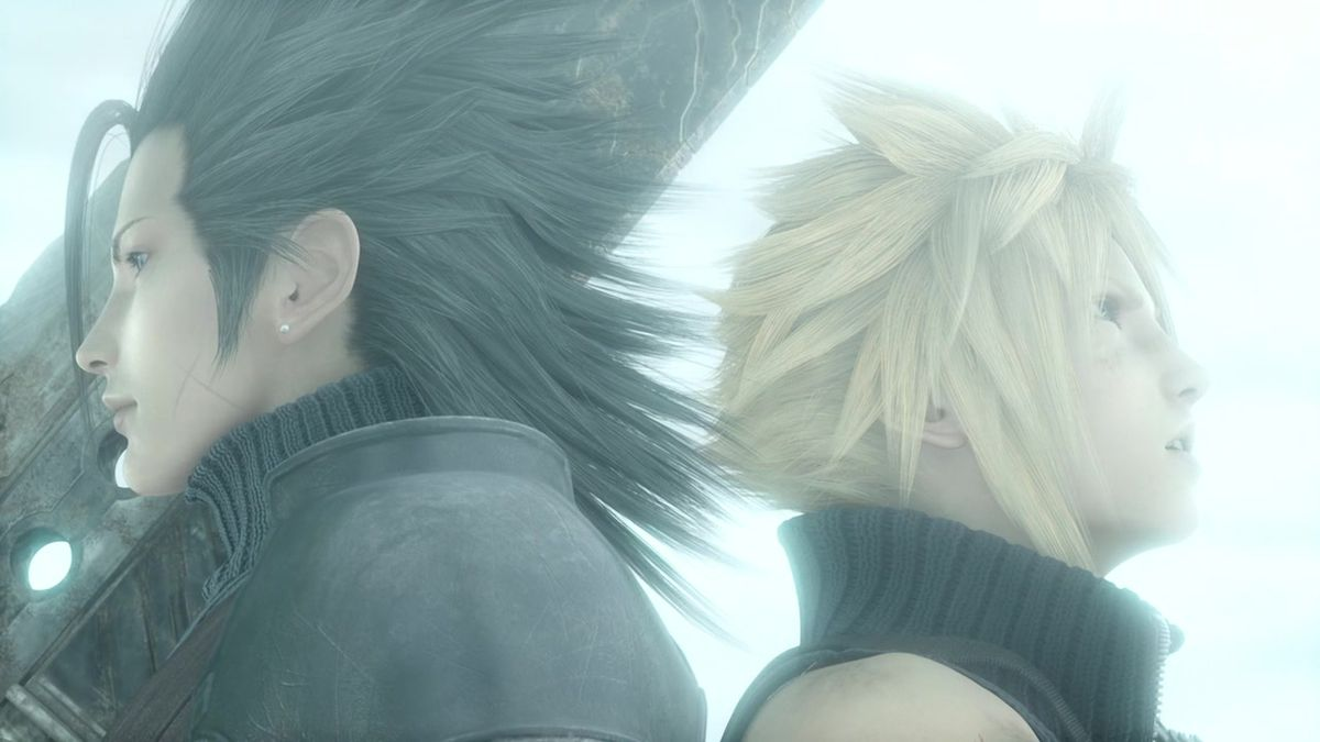Zack Fair stands back-to-back with Cloud, holding the Buster Sword