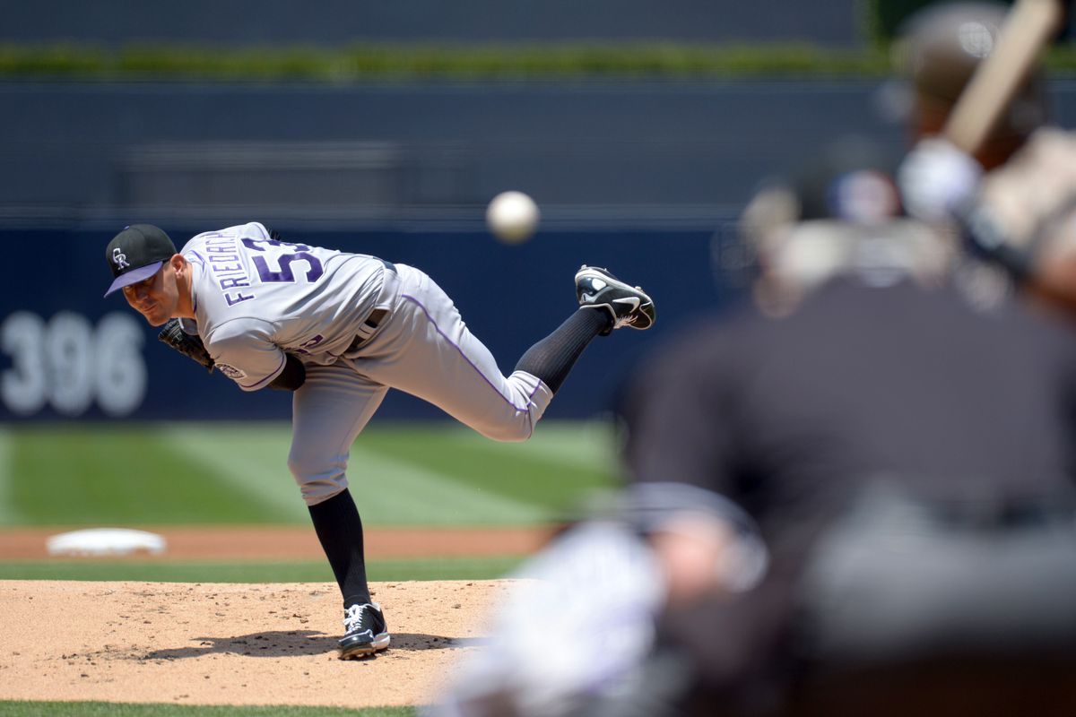 July 22, 2012; San Diego, CA, USA; Colorado Rockies starting pitcher Christian Friedrich (53) pitches during the first inning against the San Diego Padres at PETCO Park. Mandatory Credit: Jake Roth-US PRESSWIRE