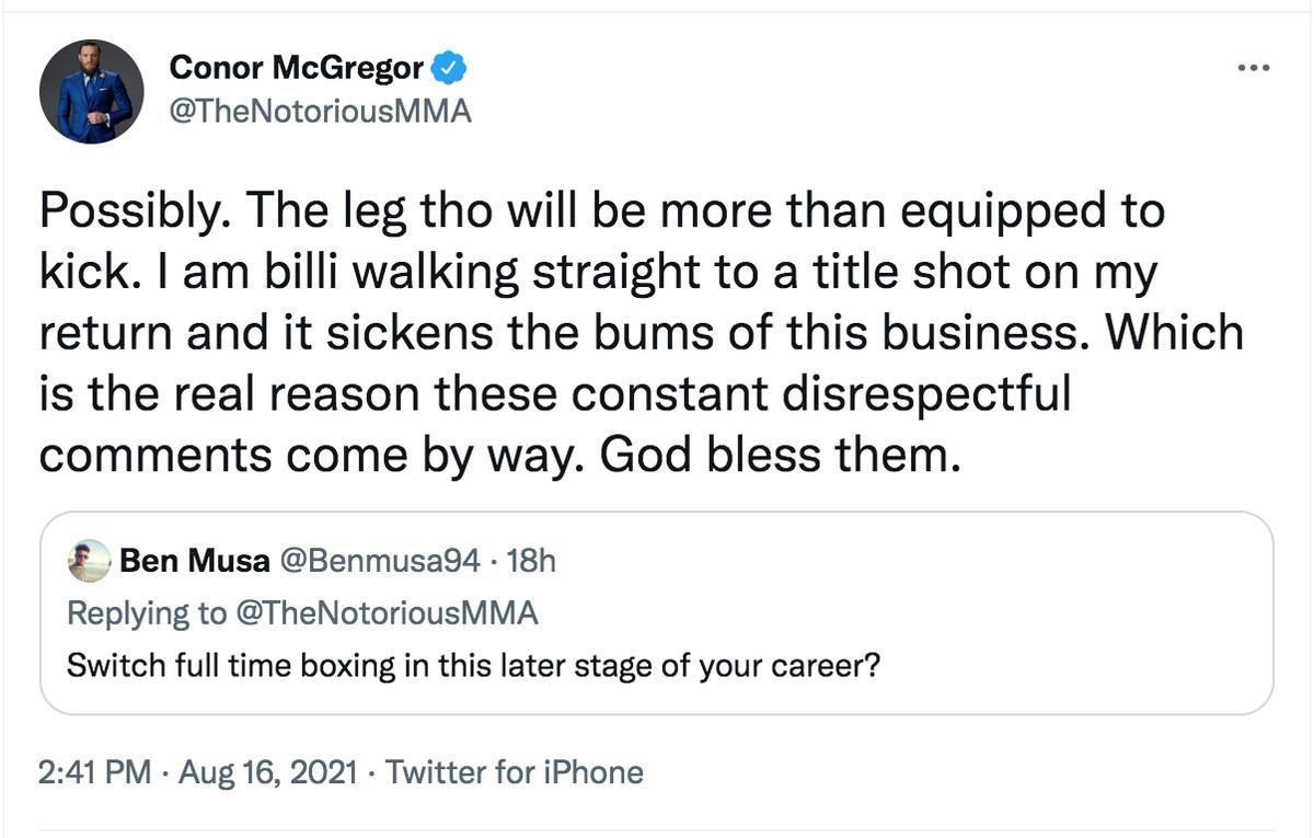 Conor McGregor tweet billi walk title shot