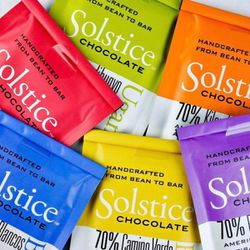 Solstice Chocolate's colorful packaging. The artisan chocolate company opened in 2012 in Murray.