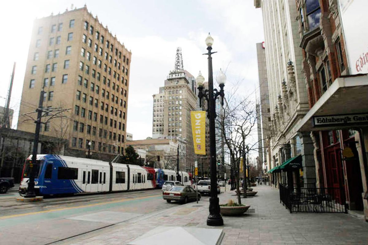 A UTA Trax train travels on Main Street in Salt Lake City, Wednesday, March 14, 2012. Harvard and University of California Berkeley researchers put Salt Lake City on the short list of best places for upward mobility. But a new analysis asks if that's real