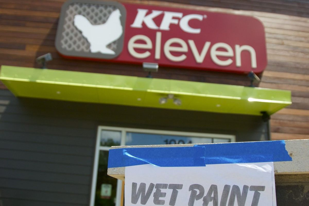The paint was dry on the inside at KFC eleven (although we're still gonna check the seat of our pants when we get home).