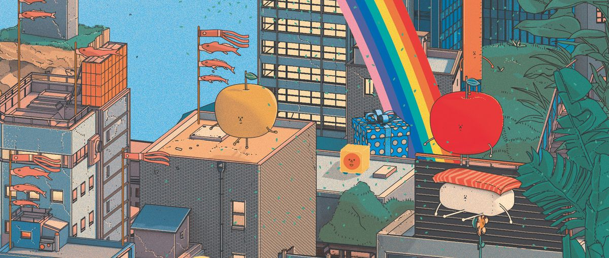 Characters from Wattam sit on buildings in San Francisco