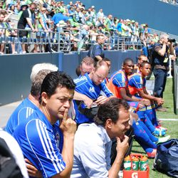 Wilmer Cabrera and Oscar Pareja consider final details before the opening kickoff at CenturyLink Field.