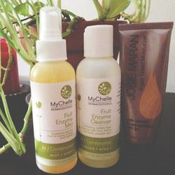 Morning skin-care routine. These are the face products I've been loving this summer. The fruit enzymes in the <b>Mychelle</b> products are so refreshing, and the <b>Josie Maran</b> product is mattifying and acts as a moisturizer, sunscreen, and foundation