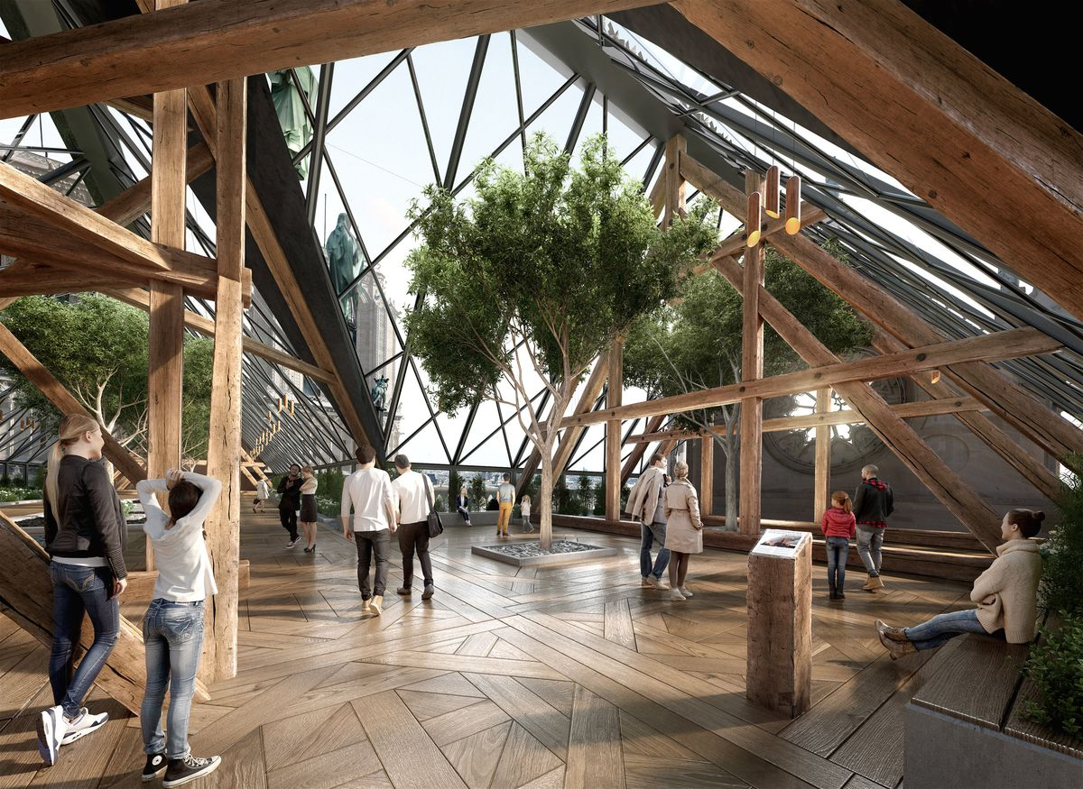 Rendering of interior with wood floors and lots of plants