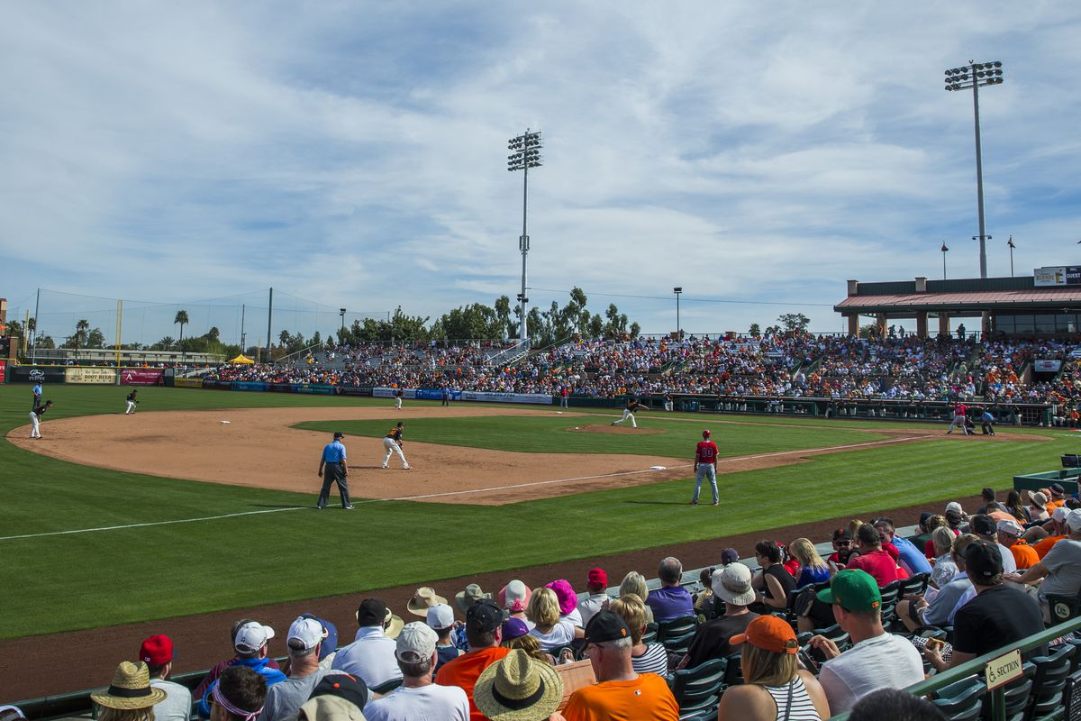 SCOTTSDALE, AZ - MARCH 2:  A general view of fans watching a spring training game between the San Francisco Giants and the Los Angeles Angels of Anaheim at Scottsdale Stadium on March 2, 2016 in Scottsdale, Arizona. (Photo by Rob Tringali/Getty Images)