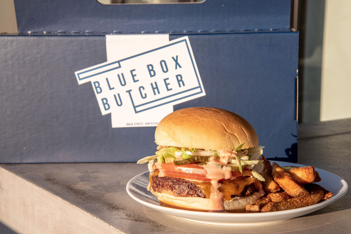 Blue Box Butcher's burger and fries