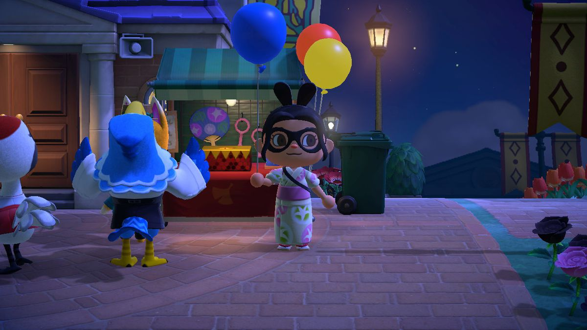 An Animal Crossing character holds a Blue Balloon