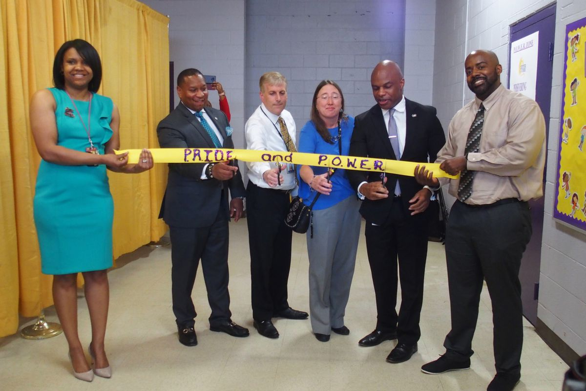 """Shelby County Schools opened a """"trauma-informed center"""" at Geeter K8 in August that includes rooms for students to calm down and meet with behavior specialists. The principal, Eric Harris, said the center was inspired by a student who would sneak back into school during a suspension because school was a safe space for him. The district hopes the center will be a model for other schools."""