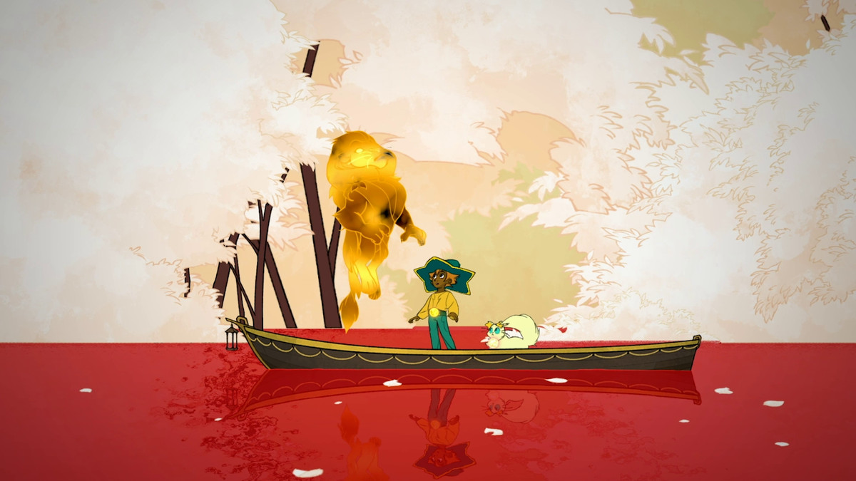 a lion turns into a light spirit in the underworld on a boat