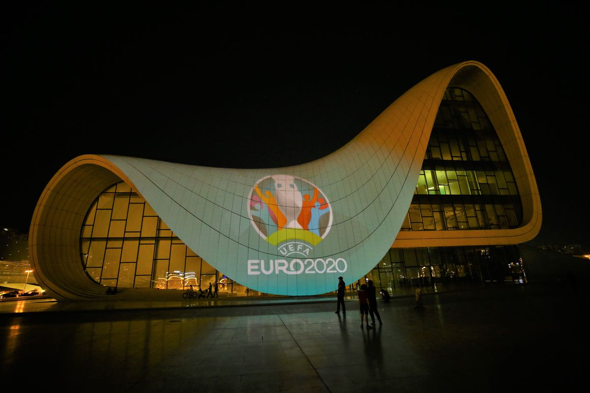 A general view of Heydar Aliyev Center is seen as EURO 2020 logo reflected on the exterior surface due to EURO 2020 soccer match between Turkey and Wales in Baku, Azerbaijan on June 16, 2021.