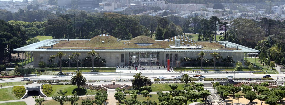 "The California Academy of Sciences has a ""living roof,"" among other green features."