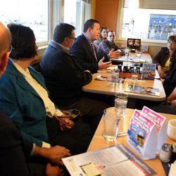 Delegates listen to Carl Wimmer, a candidate for the 4th Congressional District, at IHOP in West Jordan, Wednesday, April 4, 2012.