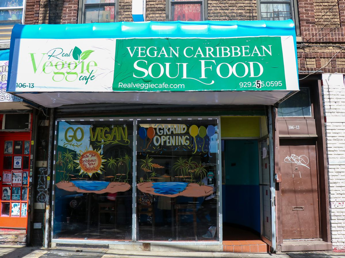 Storefront signage of Real Veggie Cafe in Jamaica, Queens