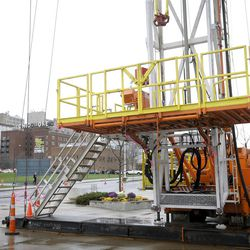 FILE - In this Nov. 30, 2011 file photo, a large drilling rig sits outside the Covelli Center in Youngstown, Ohio during a natural gas conference at the center. A natural gas boom in eastern Ohio is driving demand for steel parts used in drilling. (AP Photo/Mark Stahl, File)