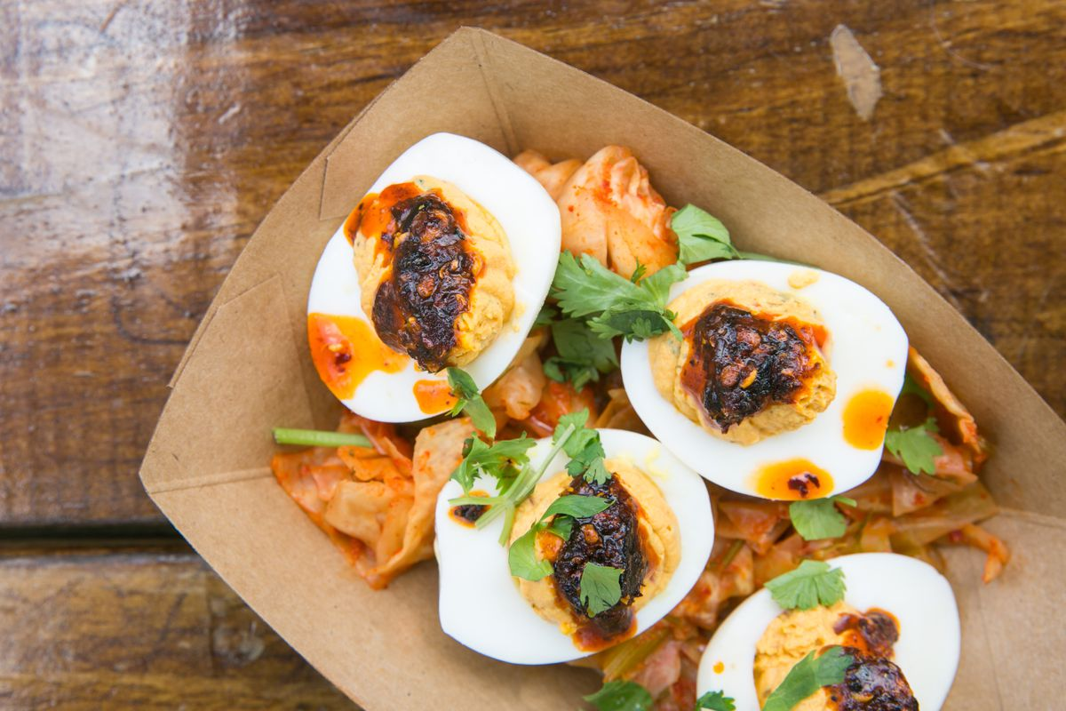 Leroy & Lewis' kimchi deviled eggs