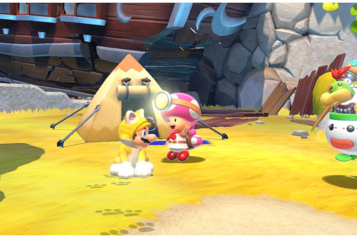 Cat Mario sits next to Toadette
