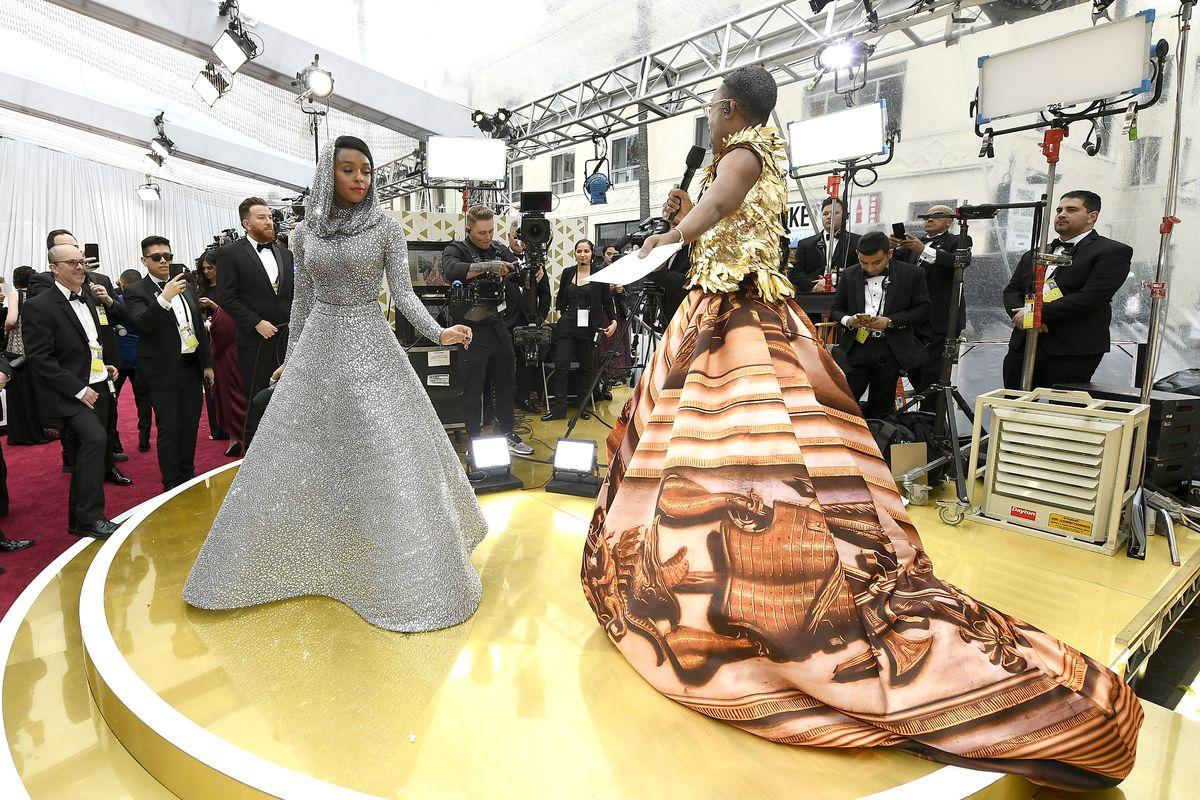 Janelle Monáe and Billy Porter at the Oscars red carpet.