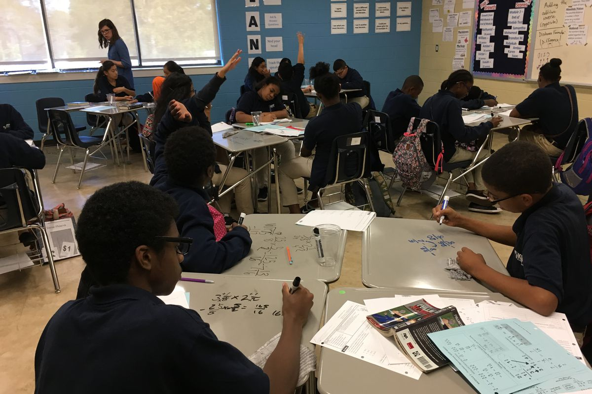 Students participate in math class at  KIPP Academy Nashville.  KIPP's next two schools will be in the new Tennessee State Board of Education school district.