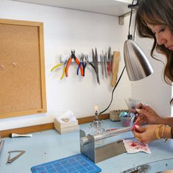 Misa working with the jewelry wax.