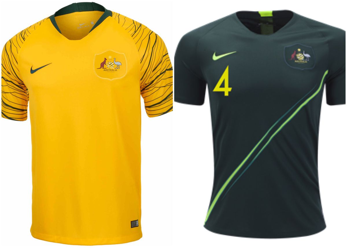 62c5684738b Australia took a risk with their jerseys, and it paid off big time. Their  home jersey has a striped sleeve design to add to their yellow jersey, ...