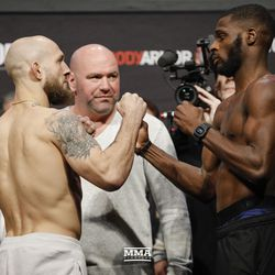 Brian Kellher and Montel Jackson square off at UFC 232 weigh-ins.