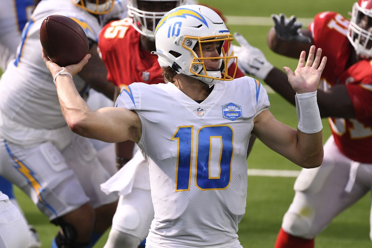 Los Angeles Chargers quarterback Justin Herbert throws a pass against the Kansas City Chiefs during the fourth quarter at SoFi Stadium.