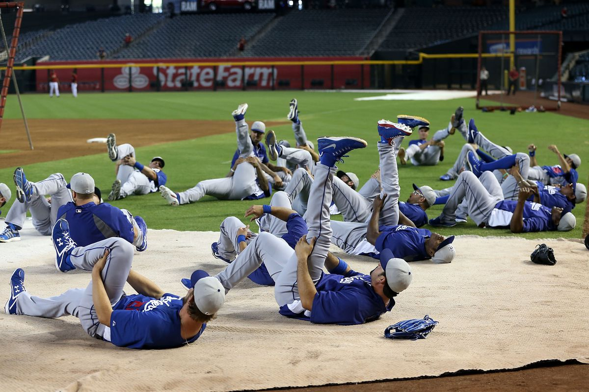 Just in case you needed visual proof that the Dodgers do, in fact, stretch