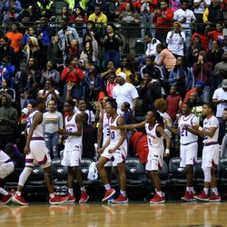 Curie's bench beginis to celebrate as the clock wind down to win the CPS championship, 65-60 over Morgan Park at Chicago State University in Chicago, Sunday, February 17, 2019. | Kevin Tanaka/For the Sun Times