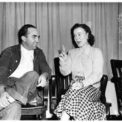 """Mickey in prison—but still looking polished—being visited by his wife LaVonne in 1951. Photo via the <a href=""""http://digitallibrary.usc.edu/"""">USC Digital Library</a>."""
