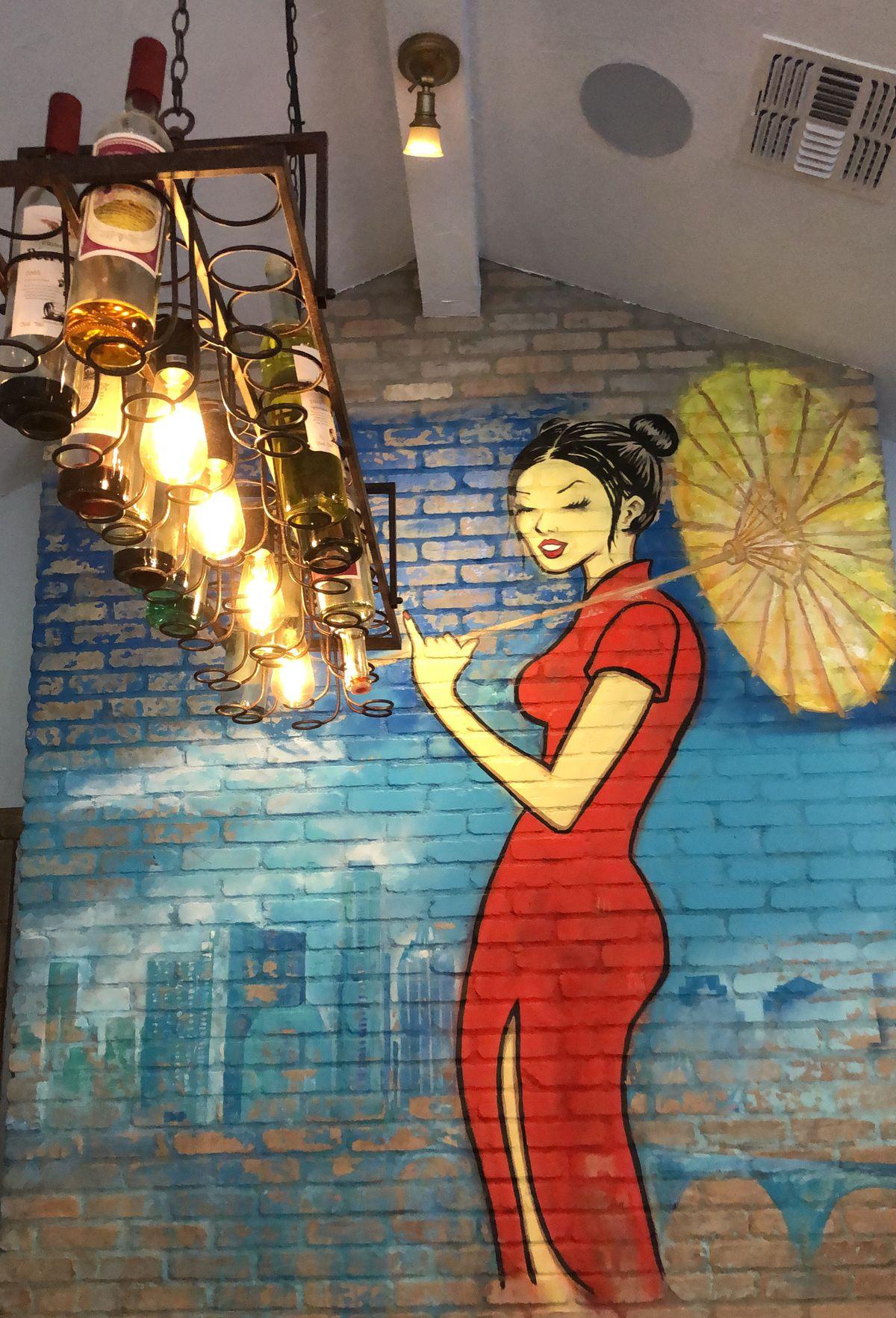 The mural at Lin Asian Bar
