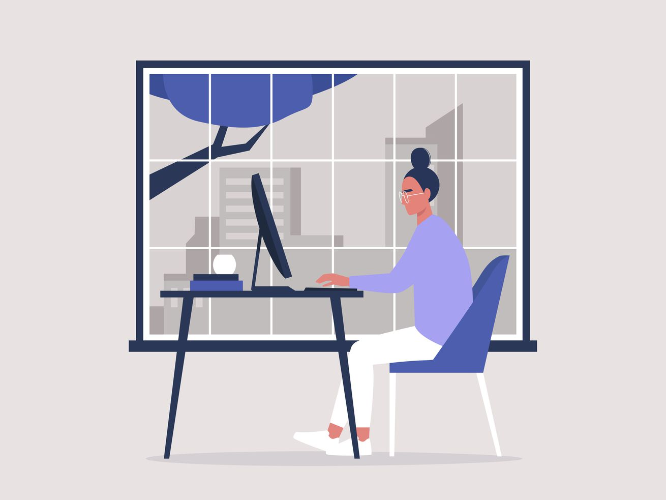 Illustration of a woman working at a computer by a window.