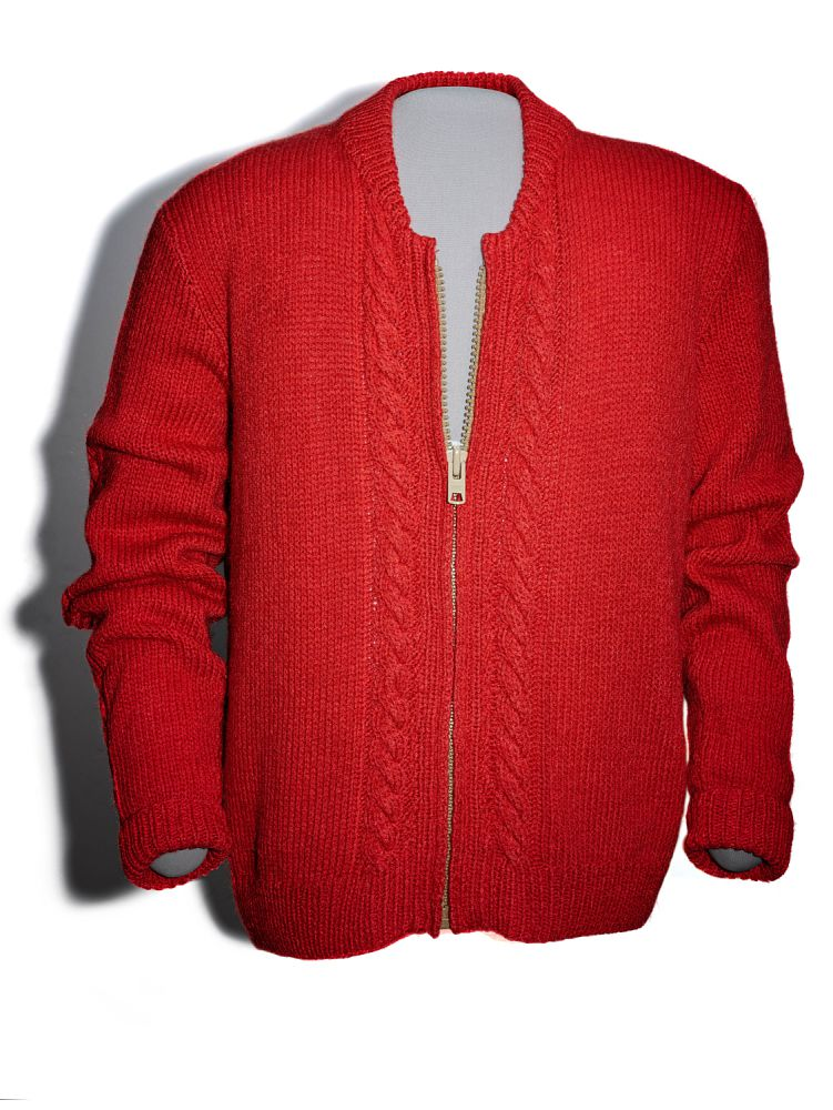 Mister Rogers' red cardigan sits in the Smithsonian museum.