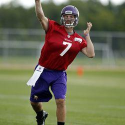 Jul 27, 2013; Mankato, MN, USA; Minnesota Vikings quarterback Christian Ponder (7) passes in drills at training camp at Blakeslee Fields. Mandatory Credit: Bruce Kluckhohn-USA TODAY Sports