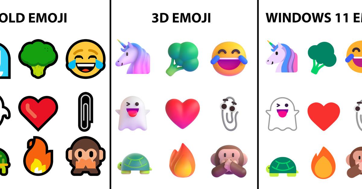 Windows 11's new emoji isn't as 3D as Microsoft promised