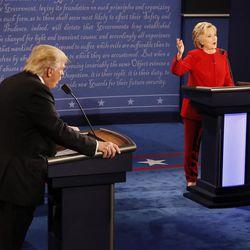 Republican presidential nominee Donald Trump and Democratic presidential nominee Hillary Clinton speak at the same time during the presidential debate at Hofstra University in Hempstead, N.Y., Monday, Sept. 26, 2016.