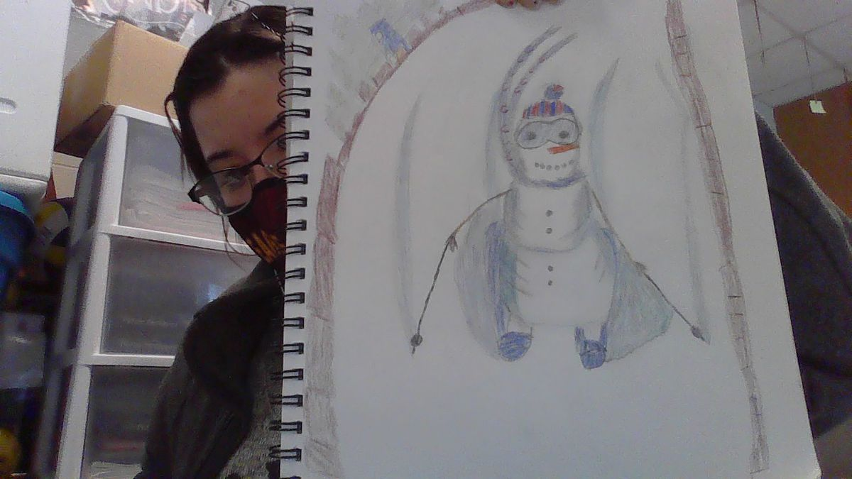 A schussing snowman by Solmaris S., 17, a junior at North-Grand High School in Humboldt Park.