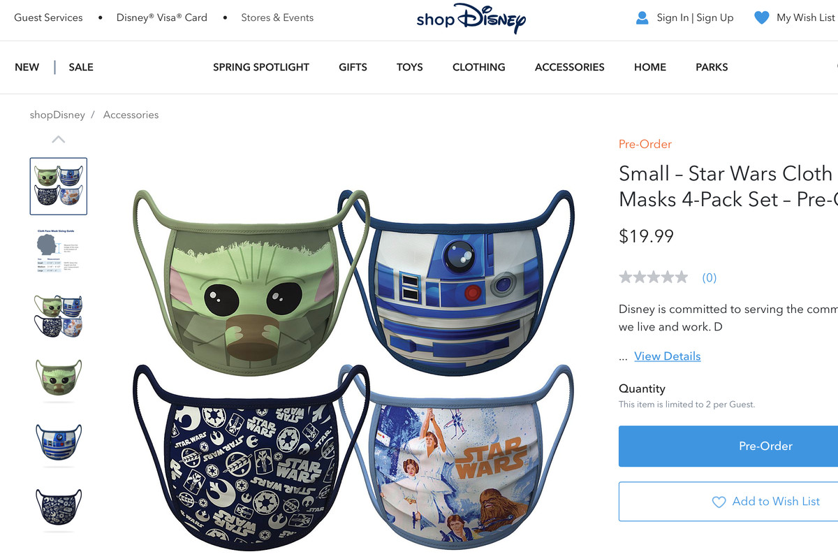 Disney releases new cloth face masks. Baby Yoda is one of them.