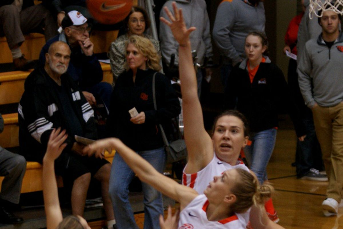 Jamie Weisner and Ruth Hamblin led Oregon State to a dominating opening win over Corban.