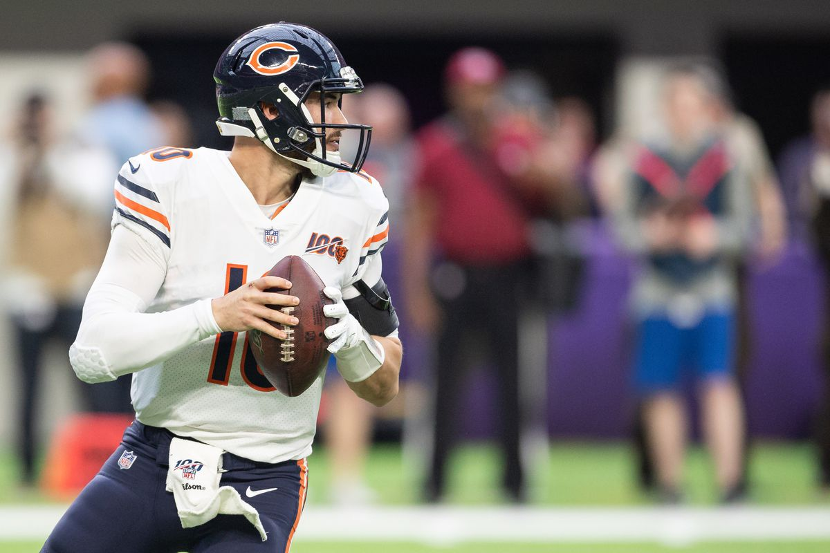 Chicago Bears quarterback Mitchell Trubisky during the first quarter against the Minnesota Vikings at U.S. Bank Stadium.