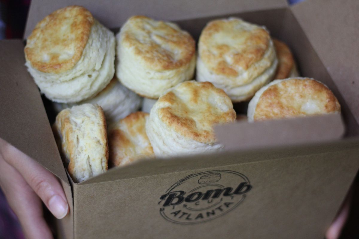 A takeout box of Bomb Biscuits baked by Erika Council in Atlanta