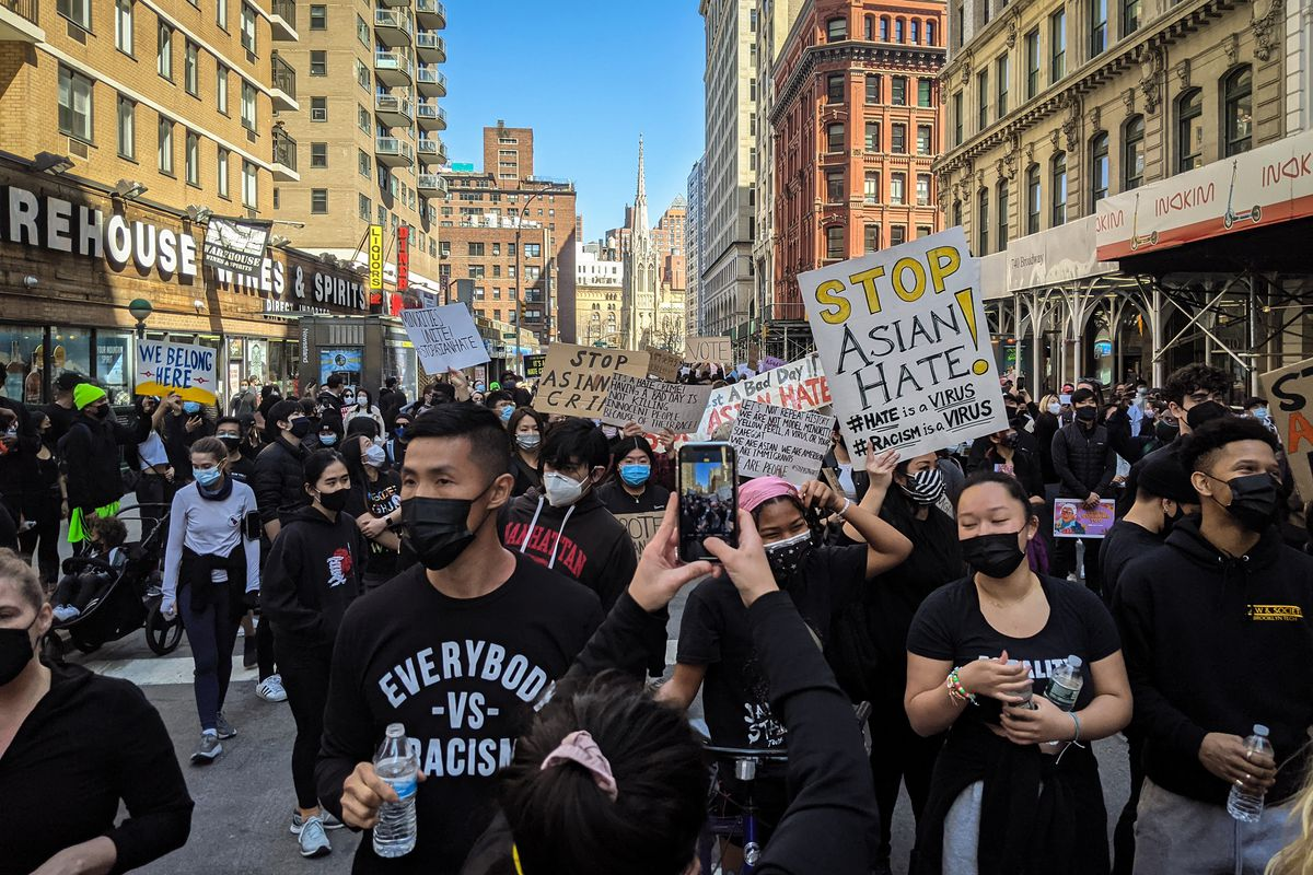 Thousands took to the streets of Manhattan to rally against anti-Asian hate.