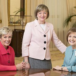 Presidents of the auxiliary organizations of The Church of Jesus Christ of Latter-day Saints are (left to right) Sister Rosemary M. Wixom, Primary general president; Sister Bonnie L. Oscarson, Young Women general president; and Sister Linda K. Burton, Relief Society general president.